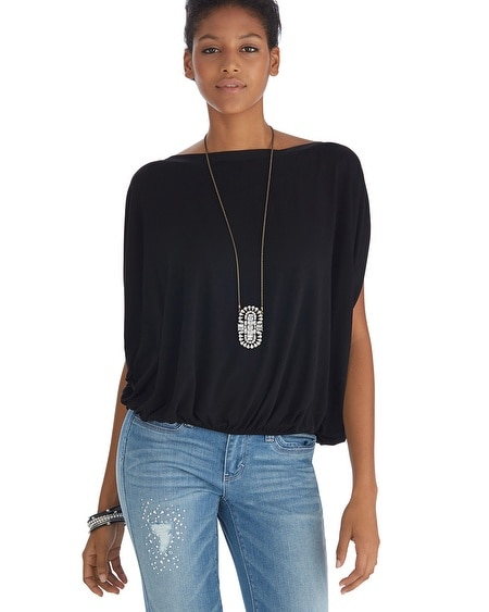 Boatneck Blouson Black Top