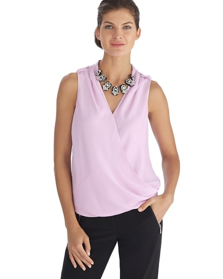 Sleeveless Silk Surplice Blouse