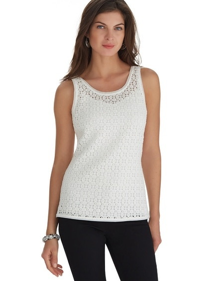 Reversible Dual Neck All Over Lace Ecru Top