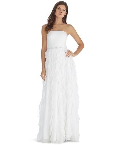 Strapless Tiered Waterfall White Gown