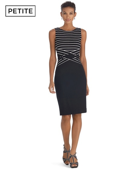 Petite Sleeveless Stripe Sheath Dress