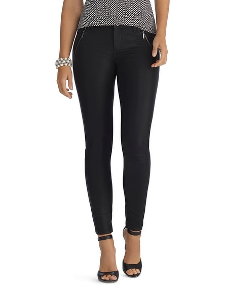 Curvy Coated Zip Black Skinny Jean