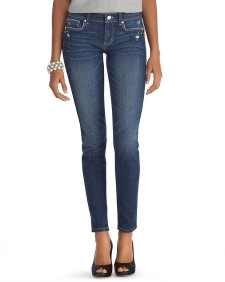 Destructed Medium Wash Skinny Jean
