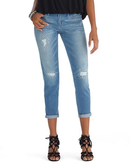 Light Wash Distressed Embellished Girlfriend Jean