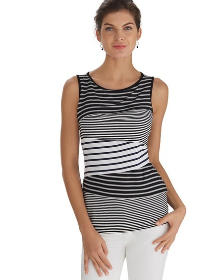 Sleeveless Tiered Stripe Shell Top