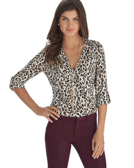 Animal Print Long Sleeve Surplice Blouse