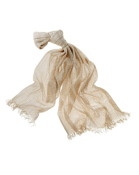 Neutral Open Weave Lurex Scarf