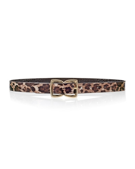 Leopard Print Black Reversible Belt