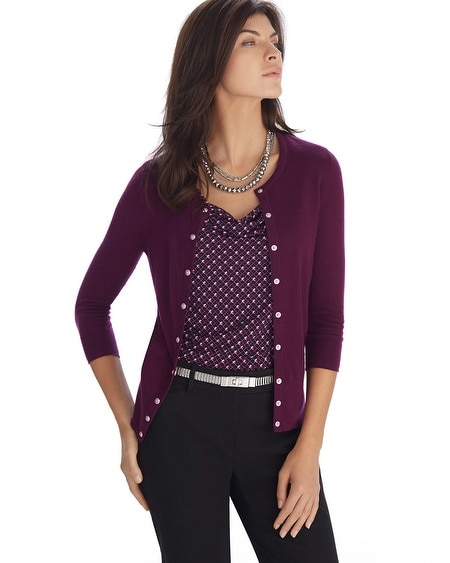 3/4 Sleeve Burgundy Crewneck Cardigan