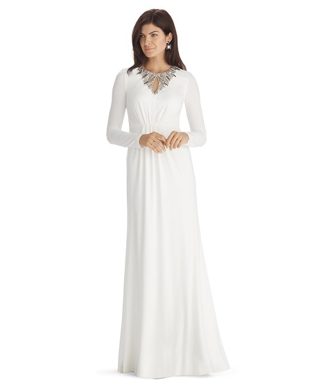 Long Sleeve Embroidered Ecru Keyhole Gown