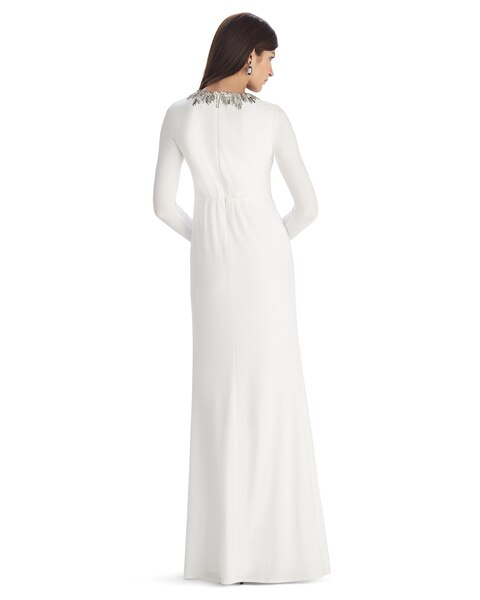 Long Sleeve Embroidered Ecru Keyhole Gown - White House Black Market