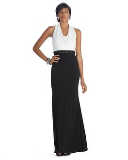 Sleeveless Colorblock Cowl Neck Gown