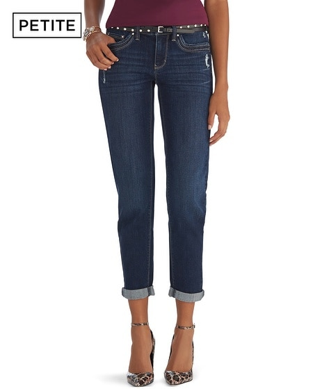 Petite Dark Wash Girlfriend Jean