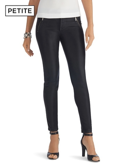 Petite Coated Zip Black Skinny Jean