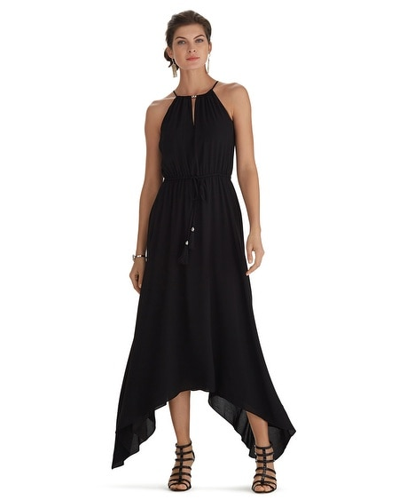 Sleeveless Cut-in Blouson High-Low Black Maxi Dress