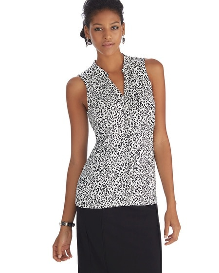 Sleeveless Leopard Button Front Top