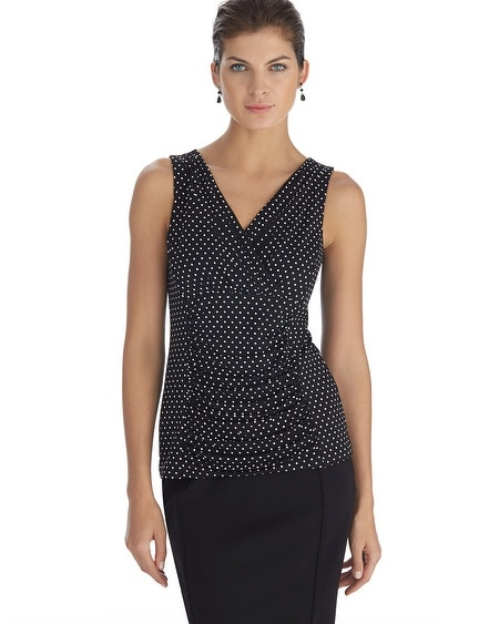 Sleeveless Shirred Surplice Polka Dot Shell Top