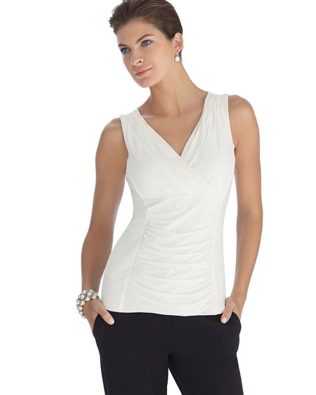Sleeveless Shirred Surplice Shell Top