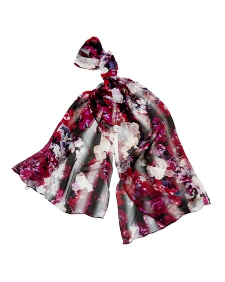 Floral Print Shadow Stripe Oblong Scarf