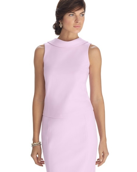 Sleeveless Low Back Pink Dart Shell Top