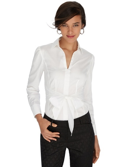 Iconic Siren Tie Front White Shirt