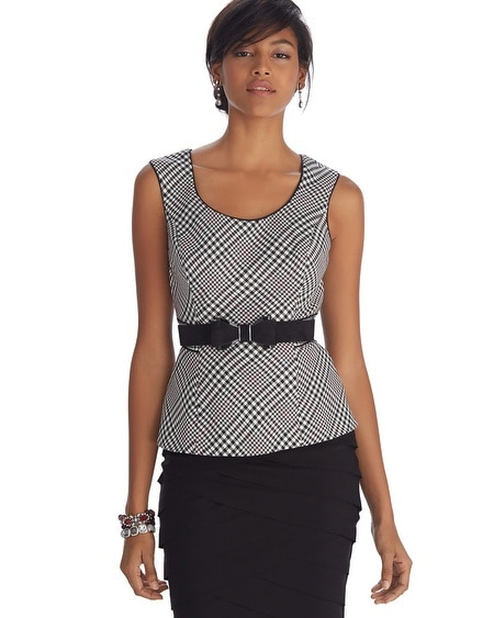 Sleeveless Mixed Plaid Bodice Top