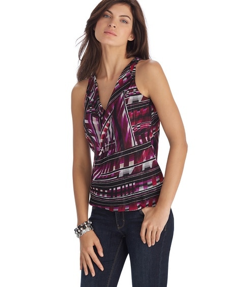 Sleeveless Geometric Print Twisted Shell Top
