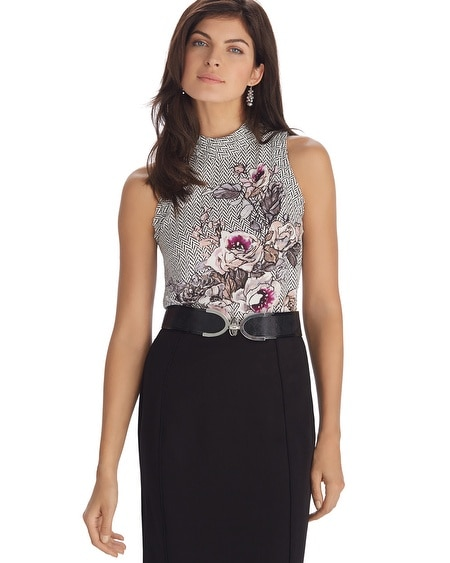 Sleeveless Silk Floral Print Shell Top