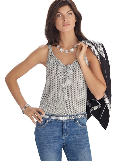 Printed Ruffle Front Shell Top