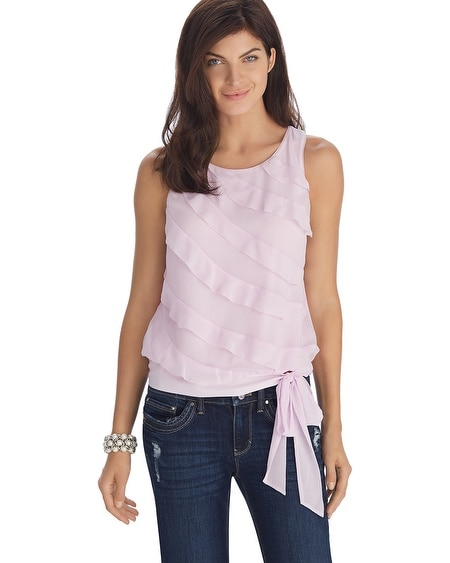 Sleeveless Flounce Ruffle Shell Top