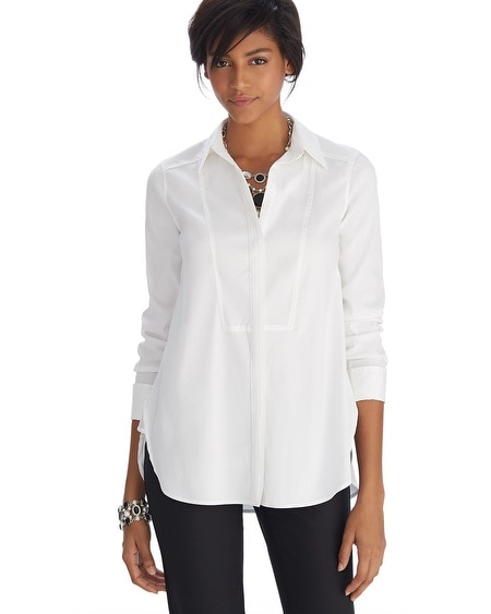 Iconic Starlet Bib Front Collar White Shirt