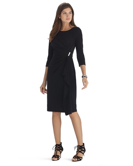 Knit 3/4 Sleeve Black Wrap Dress