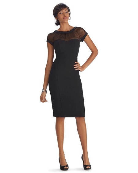 Iconic Siren Sheer Neckline Sheath Black Dress