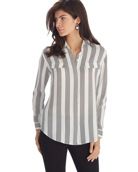 Vertical Striped Button Front Collar Shirt - White House ...