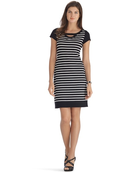Short Sleeve Stripe Keyhole Dress