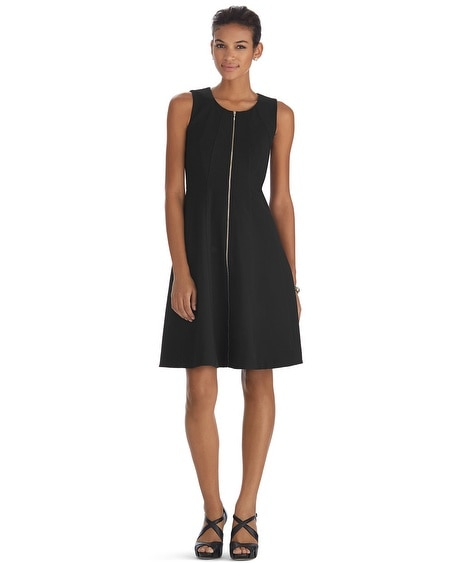 Sleeveless Zip Front Fit and Flare Black Dress