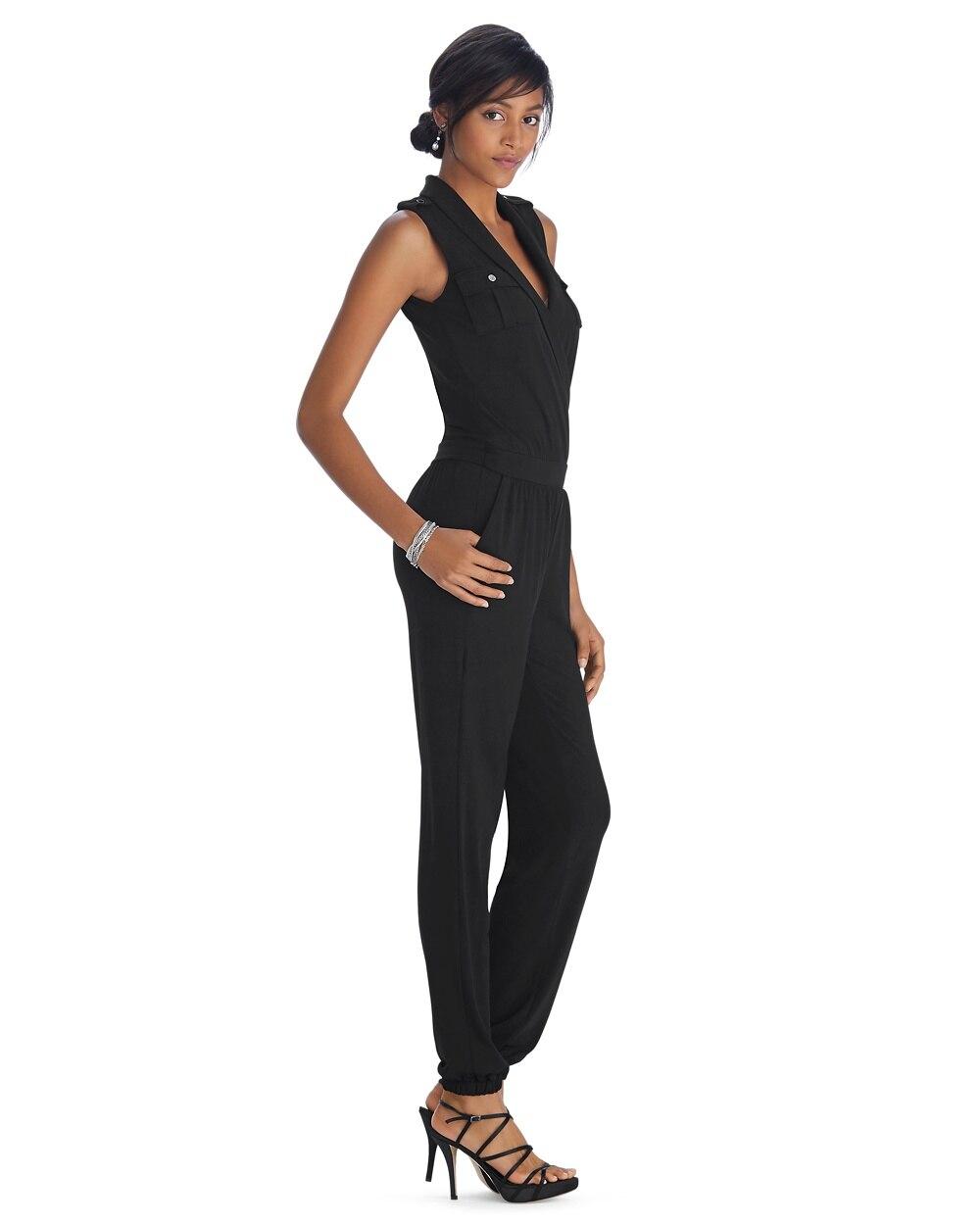 713d729ec70f Return to thumbnail image selection Sleeveless Shawl Collar Black Jumpsuit