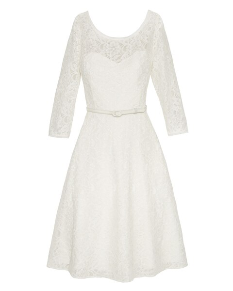 3 4 Sleeve Lace Belted Fit And Flare Ecru Dress White
