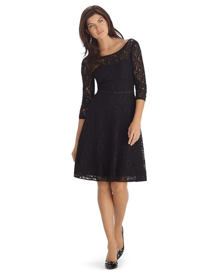 3/4 Sleeve Lace Belted Fit and Flare Black Dress