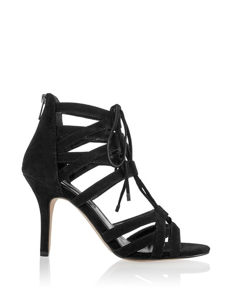 Black Suede Lace-Up Heel