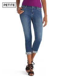 Petite Saint Honore Embellished Cuff Slim Ankle Jeans