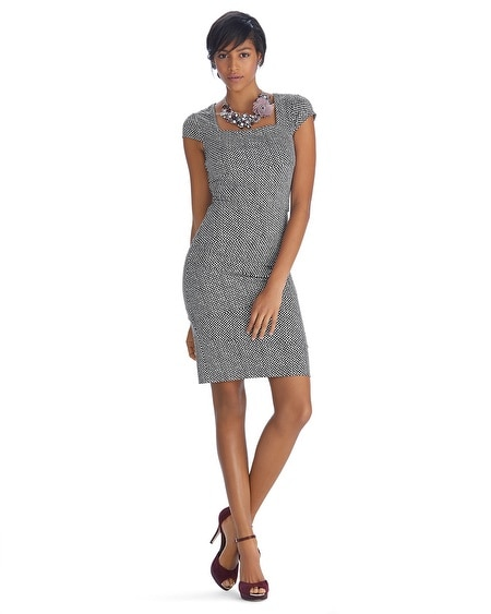 Cap Sleeve Houndstooth Instantly Slimming Dress