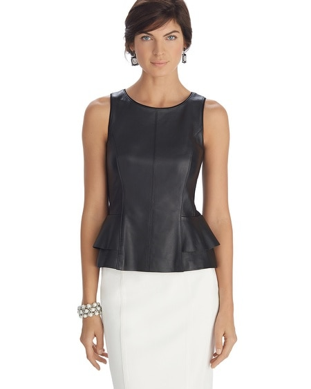 Sleeveless Leather Peplum Bodice Top
