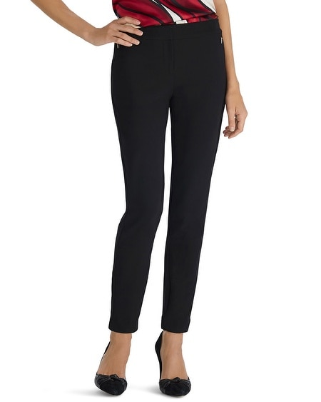 Crepe Tapered Black Ankle Pant