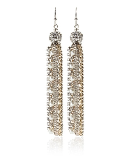 Mixed Metal Pearl Crystal Tassel Earring