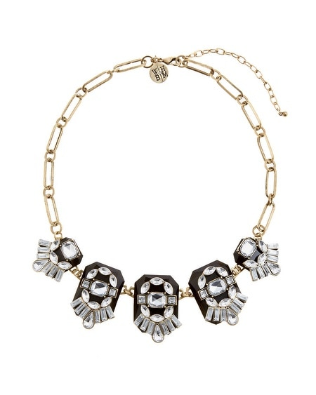 Black Crystal Layered Statement Necklace