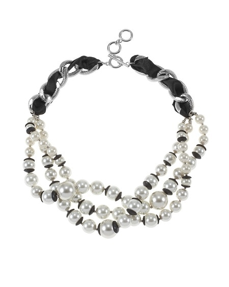 Capped Pearl Chain Link Necklace