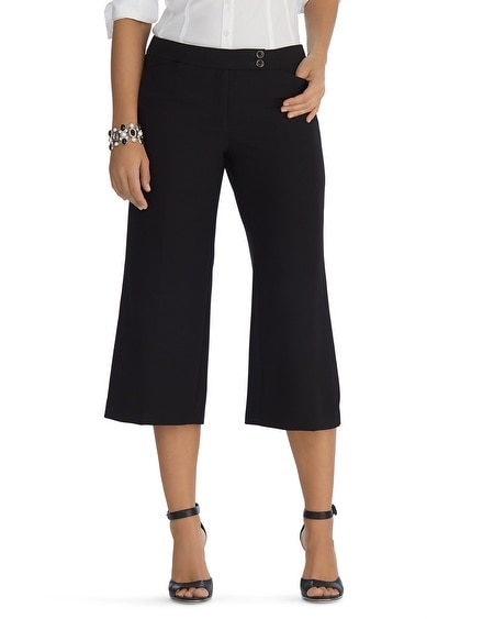 Contour Wide Leg Crop Black Pants