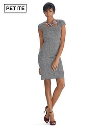 Petite Cap Sleeve Houndstooth Instantly Slimming Dress