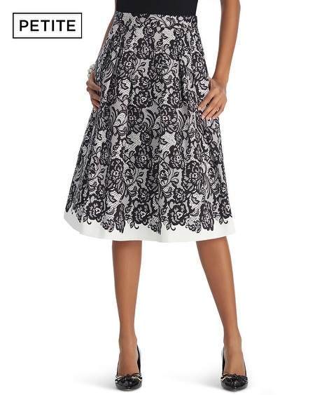 Petite Lace Printed Full Skirt